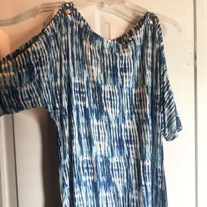 Blue & White Cold Shoulder Asymmetrical Tunic